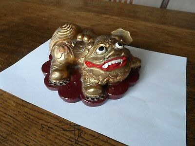 Antique Chinese Wood Carving of a Shi-shi Dog