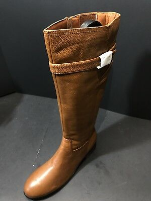 1e2327f54989 NEW Trotters Women Lyra Wide Calf Cognac Tumbled Leather Boot Sz 9.5M RTL   200
