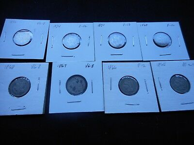 8 Early 3 cent Pieces. All different; 1865 thru 1876 -- Circulated