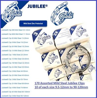 Assorted Genuine Jubilee Hose Clips 9.5-12mm to 90-120mm (170 clips in Total)