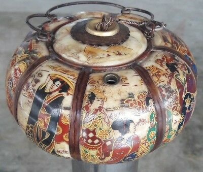 Vintage story Chinese Asian art pottery ceramic ancient pipe opuim.