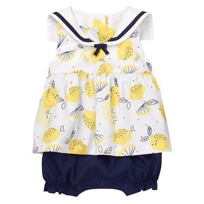 NWT Gymboree Bright Days Ahead Lemon Sailor 1 pc Romper Baby Girl 0-3-6-12-18-24