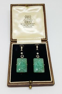Beautiful Pair Of Antique Chinese Apple Green Jade And English Silver Earrings