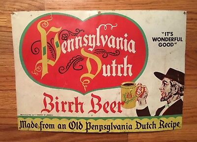 Vintage Pennsylvania Dutch Birch Beer Tin Sign Ju C Lebanon PA Soda Advertising
