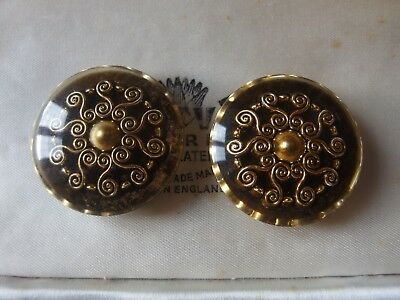 2 x Vintage Art Deco? Perspex & Gold Swirl Buttons Large