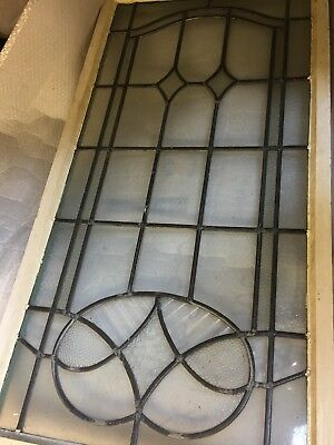 Antique Edwardian 20's 30's Leaded Textured & Obscure Glass Window