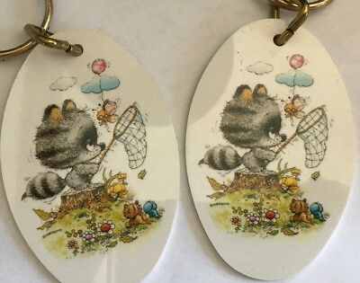 Vintage Retro 1970's Key Chain Fob Gigi Gallant Greetings Cute Raccoon Pair