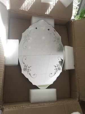 Vintage Antique Small Wall Mirror Etched Scalloped Edges **new In Original Box**