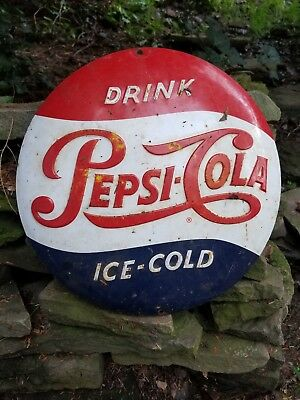 vintage old Pepsi Cola embossed button soda sign general store gas station coke