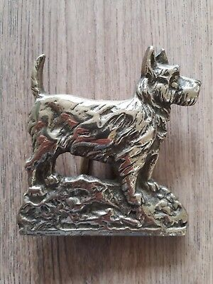 Large Vintage Solid Brass Scottish  Aberdeen Terrier Scottie Dog Door Knocker