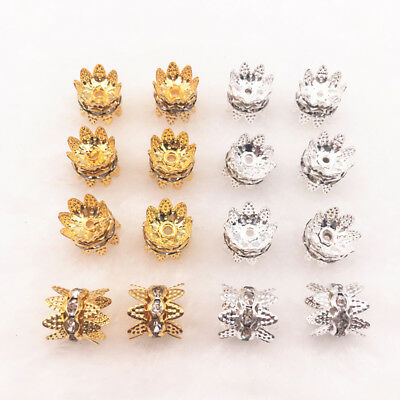 50pcs 6-10mm Handmade Alloy Spacers Crystal Rhinestone Spacer Beads DIY Jewelry