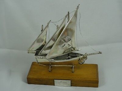 MODEL of solid silver SAILING BOAT, c1980