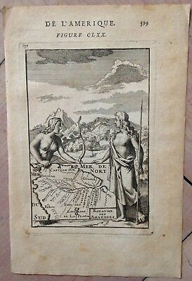 Amazonia Brazil 1683 Alain Manesson Mallet Antique Copper Engraved Map