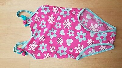 baby girl swimming costume pink hearts & flowers age 12-18 months