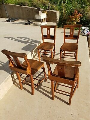 Antique Vintage Church Chapel Pew Chairs with shelves - set of four
