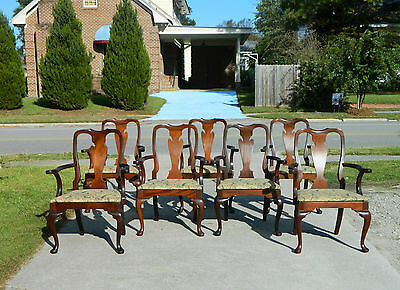 7 Vintage Queen Anne Style Solid Mahogany Dining Chairs~~All Arm Chairs