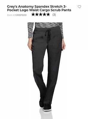 NWT Greys Anatomy Scrubs Pant Active 3 Pocket Cargo Black - Tall Small ST