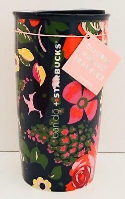 NEW Starbucks Ban.do Black Floral Ceramic Traveler Tumbler Coffee Cup Mug 12 Oz