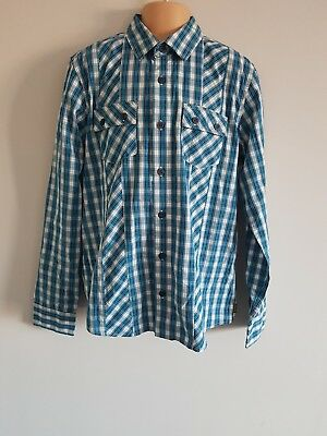 BNWT Ted Baker Boy Blue Yellow Check Smart Long Sleeve Shirt Age 13 Year RRP £24