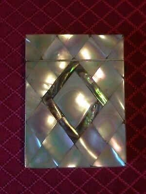 Extra Nice Mother of Pearl Calling Card Case With Abalone Center Diamond. C-1880