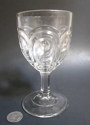 """Antique 1880s Victorian Glass """"PANELED S"""" Pattern 6"""" Tall Water Goblet Stem EAPG"""