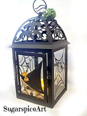 Yorkie Handpainted Flameless Candle Fall Halloween Lantern Art by SugarspiceArt