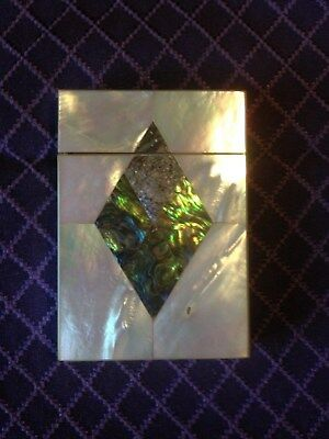 Super Mother of Pearl Calling Card Case With Solid Abalone Center Diamond.
