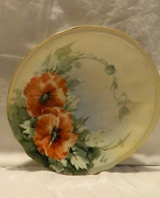 7 Inch Vintage Scalloped Hand Painted & Signed Poppy Plate –Elite France Limoges