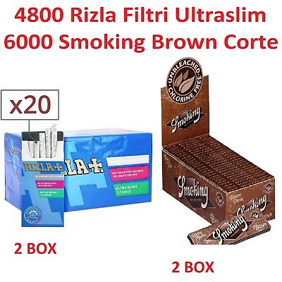 4800 FILTRI RIZLA ULTRASLIM 5.7mm + 6000 CARTINE SMOKING BROWN CORTE + accendino