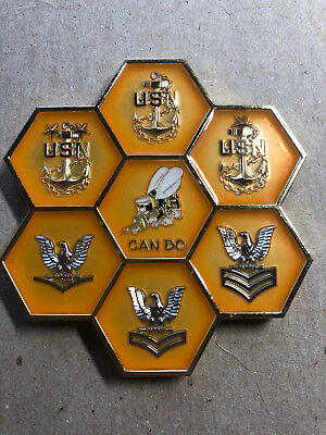 U.S. Navy Seabee, CAN DO, HONEYCOMB style coin