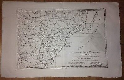 Brazil Argentina Spanish Possessions 1780 By Rigobert Bonne Antique Engraved Map