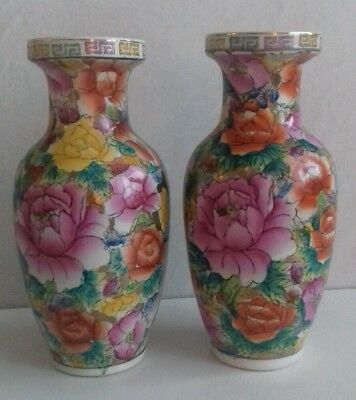 Pair 2 Vintage Hand Painted Chinese Mille-Fleur Famille Rose Gilt Vases