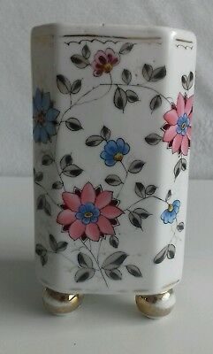 Antique Chinese Porcelain Square Vase. 4 gilded ball legs. Floral