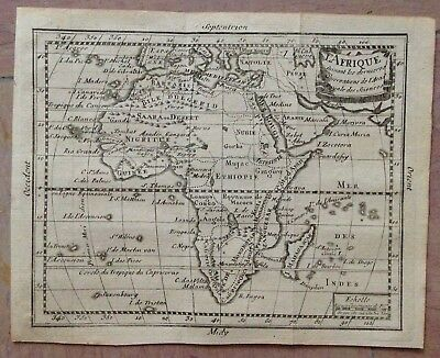 AFRICA 1744 ROYAL ACADEMY OF SCIENCES ANTIQUE COPPER ENGRAVED MAP XVIIIe CENTURY