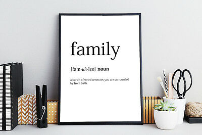 Family Meaning Funny Home Life Quote Wall Art Print Picture Black & White Decor