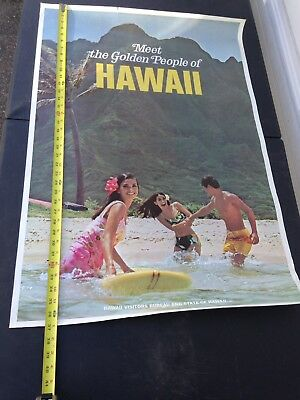 1970's Travel Poster Meet The Golden People Of Hawaii Visitors Bureau And State