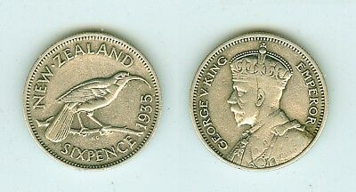 6 Pence 1935  New Zealand      Silber