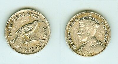 6 Pence 1936  New Zealand      Silber