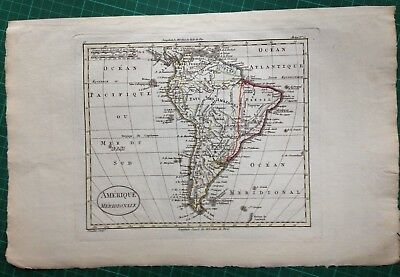 SOUTH AMERICA XVIIIe CENTURY by BLONDEAU ANTIQUE COPPER ENGRAVED MAP