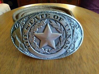The State Of Texas Seal Belt Buckle w/Belt By Great American Buckle Co 1981
