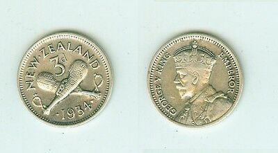 3 Pence 1934  New Zealand      Silber