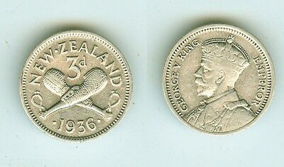 3 Pence 1936  New Zealand      Silber