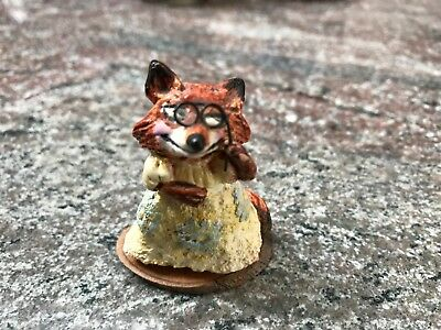 Wee Forest Folk Very Rare Retired Fx-01 Miss Society Fox / Fancy Fox