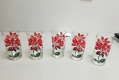 5 Poinsettia Pattern Drinking Glasses_..