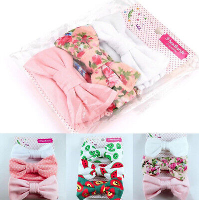 3x Newborn Headband Cotton Elastic Baby Print Floral Hair Band Girls Bow-knot ZN