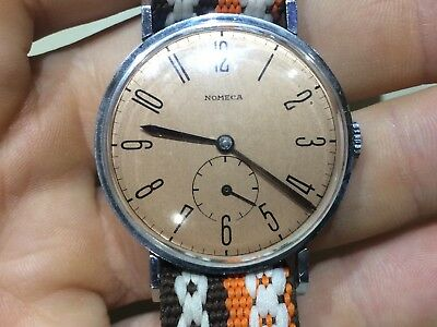 Vintage German Art Deco men's Nomeca winding watch Nomos style lugs cal.AM 453
