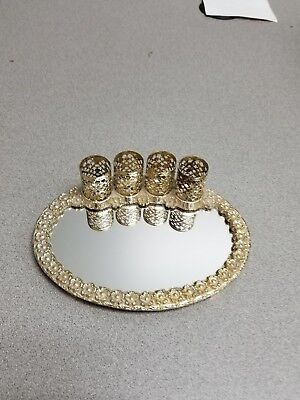 Mid Century Gold Tone Floral Filigree 4 Lipstick Holder With Mirror
