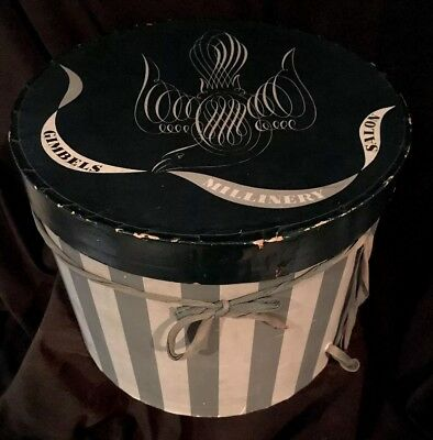 VINTAGE DOBBS FIFTH AVE HATS NEW YORK ROUND EMPTY HAT BOX 1930's MILLINERY