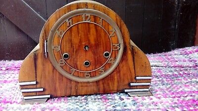 MANTEL CLOCK WITH WESTMINISTER MOVEMENT FROM 1930's FOR SPARES OR REPAIR.