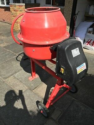 140 Litre Electric Cement / Concrete Mixer On Stand & Wheels - Used Once Collect